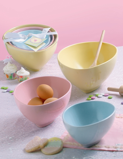 Pastel Egg Mixing Bowls, Nested, Set Of 3