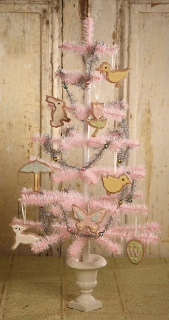 Pink Feather Tree With Easter Cookie Ornaments