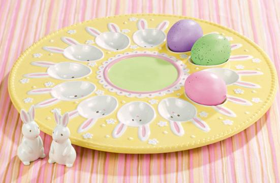 Sunshine Egg Plate With Bunny Salt & Pepper Shakers