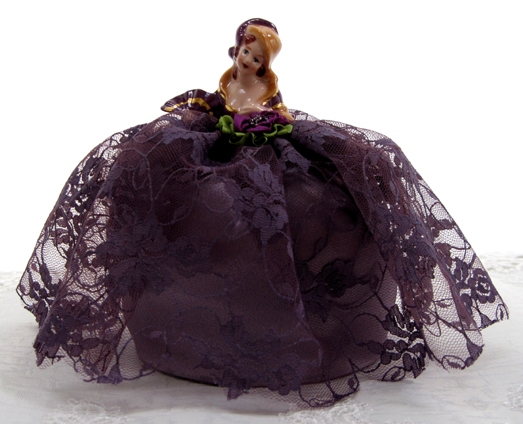 Victorian Half Doll Pin Cushion, Purple With Gold Accents, New Lower Price!