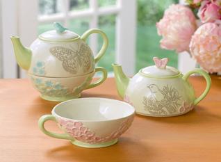 Ambiance Tea For One, Choose From Bluebird Or Pink Butterfly