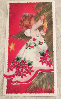Heavenly Poinsettia Angel Handkerchief Mailable Card, Free Shipping!