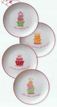 Birthday Party Cake Plates, Set Of 4