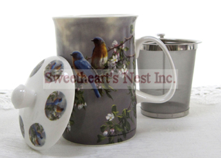 Mug & Tea Infuser Set, Blue Bird, 3 Piece Set