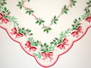 Boughs Of Holly Christmas Handkerchief, Free Shipping!