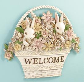 """Springtime Bunny """"Welcome"""" Plaque"""