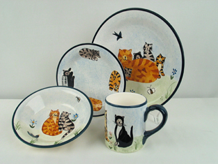 Cat Dinnerware Set, 16 Piece, Retired & Last Set Available!