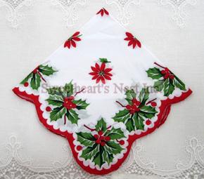 Christmas Holly & Poinsettia Handkerchief, New! Free Shipping!