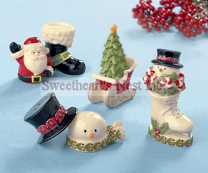Christmas Holiday Salt & Pepper Shakers, Stackable, 4 To Choose From!  Free Shipping!!