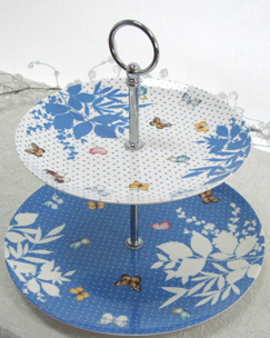 Blue Butterfly 2 Tier Cake Stand