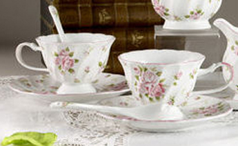 Rose Garden Tea Cups & Saucers With Spoons, 2 Sets