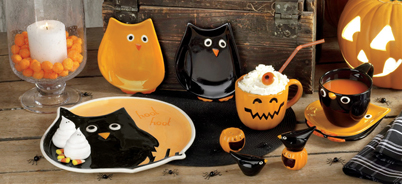 Give-A-Hoot Halloween Owl Ceramics, Appetizer Plates, Platter & Salt & Pepper Shakers