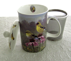 Mug & Tea Infuser Set, Golden Finch, Set Of 3