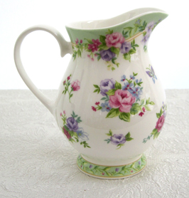 Green Floral Milk Jug, Pitcher, 12 oz.