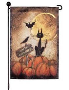 Happy Halloween Black Cat Garden Flag