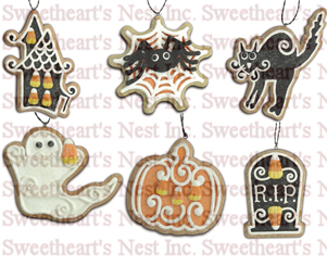 Halloween Gingerbread Cookie Ornaments, Lee Walker Shepherd, Bethany Lowe, Set of 8