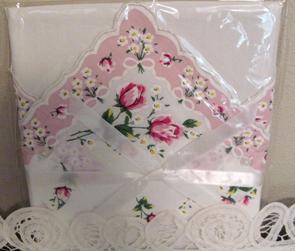 Handkerchief Pillowcase, Pink Rose Floral