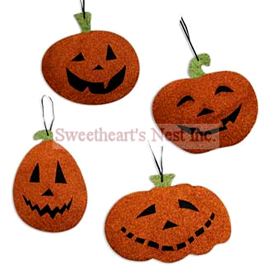 Glittered Pumpkin Ornaments, Small, Bethany Lowe, Set Of 4, Free Shipping!