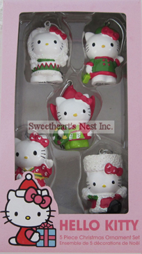 Hello Kitty Christmas Ornament Set, 5 Piece, Free Shipping!