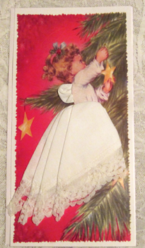 Heavenly Christmas Lace Angel Handkerchief Mailable Card, Free Shipping!
