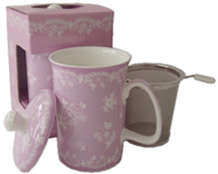 Mug & Tea Infuser Set, Lavender Vintage Lace, Set Of 3