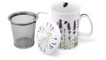 Mug & Tea Infuser Set, Lavender Fields, Set Of 3