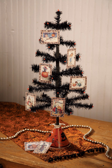 Nostalgic Black Feather Tree With Mini Halloween Deco Bead Ornaments Set, Bethany Lowe