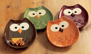 Owl Appetizer Plates, Set Of 4