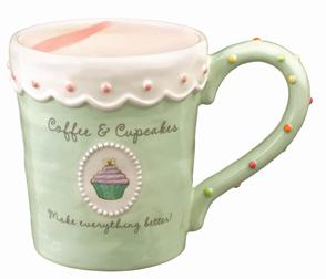 Pastel Green Cupcake Mug With Pink Swirl Design On Inside