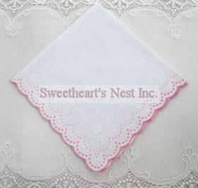 Pink & White Handkerchief, New!  Free Shipping!
