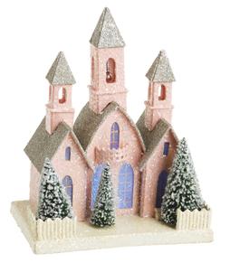 Pink Church, Christmas Or Shabby Decor