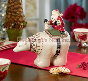 Christmas Polar Bear & Santa Claus Cookie Jar, Free Shipping!!