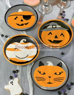 Pumpkin Face Appetizer Plates, Set of 4