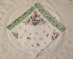 Roses & Daisies Handkerchief, Light Mint Green Border, Free Shipping!