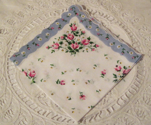 Roses & Daisies Handkerchief, Light Blue Border, Free Shipping!