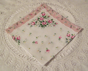 Roses & Daisies Handkerchief, Light Pink Border, Free Shipping!