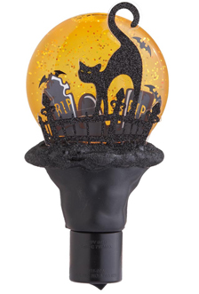 Spooky Black Cat In Haunted Cemetery Shimmer Night Light, Halloween