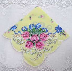 Sunny Yellow Bouquet Handkerchief, New! Free Shipping!
