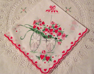 Valentine Wagon With Roses & Hearts Handkerchief, Free Shipping!