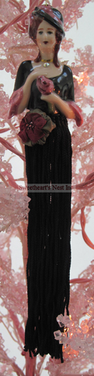 Victorian Black & Mauve Tassel Doll, Clearance