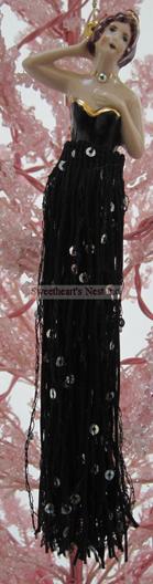 Victorian Black Sequin Tassel Doll, Clearance