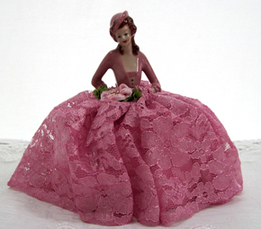 Victorian Half Doll Pin Cushion, Pink/Mauve, Small Hat, New Lower Price!