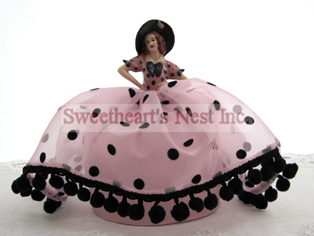 Victorian Polka Dot Pink & Black Half Doll Pin Cushion