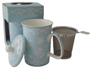 Mug & Tea Infuser, Aqua, Vintage Lave, Set Of 3