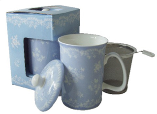 Mug & Tea Infuser Set, Iris Vintage Lace, Set of 3
