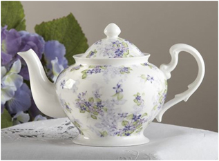 Violets, Porcelain Tea Pot With Lid