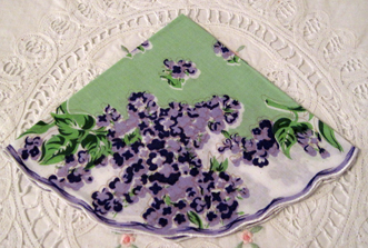 Violets Handkerchief, Free Shipping!
