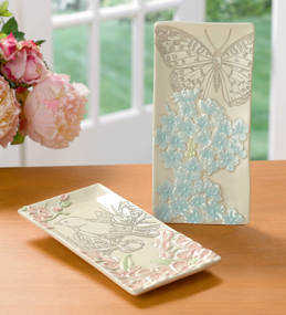 Ambiance Appetizer Plates, Choose from Blue Butterfly Or Pink Bird