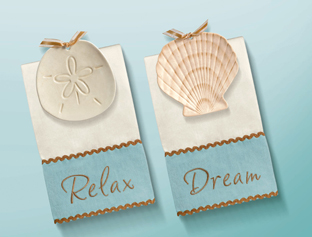 Beach Shell Soap Dish/Spoon Rest With Towel Set, 2 To Choose From!