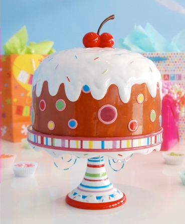 Cake Plate With Dome, Birthday Cake